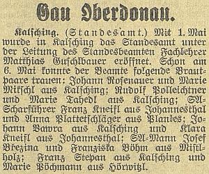 """Zpráva o otevření""""stavovského úřadu"""" ve Chvalšinách roku1939, jehož vedením byl pověřen"""