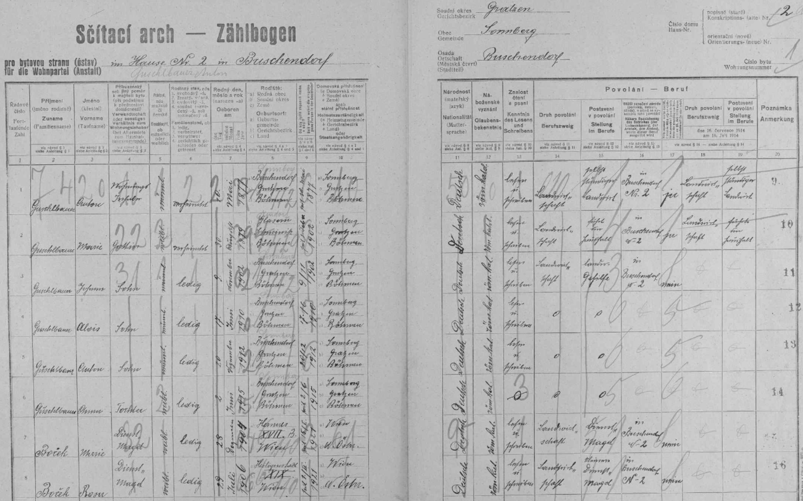 Sčítání lidu z roku 1921 (starší nejsou dostupná v digitální podobě) uvádí v Božejově jediné Guschlbauerovy, a to na stavení čp. 2, Matthias zde mezi členy rodiny zapsán není