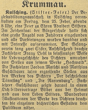 Podle této zprávy se podílel na chvalšinském večeru ke cti Adalberta Stiftera přednáškou spromítáním světelných obrazů