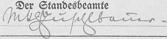 Takto je podepsán v roce 1939 hned na úvodních stránkách německé stavovské matriky veChvalšinách