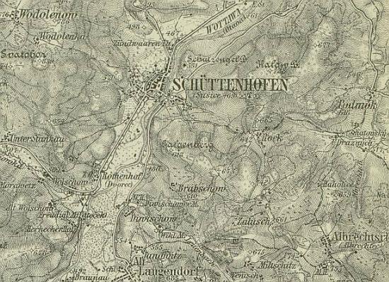 Sušice a okolí na mapě z doby, kdy se tu narodil
