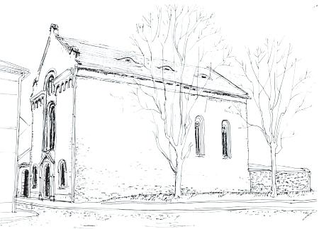 Snímek a rekonstrukční kresba synagogy v Sušici