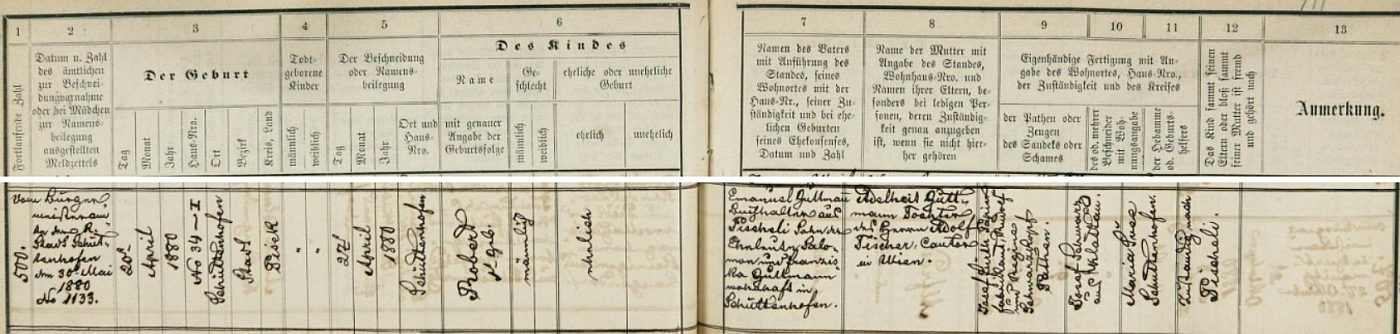 Záznam sušické židovské matriky o jeho zdejším narození dne 20. dubna roku 1880 a obřízce týden nato - otcem novorozence byl Emanuel Guttmann, účetní z Pyšel (zde Pischoli), syn manželů Salomona a Franzisky Guttmannových, bytem v Sušici, matkou Adelheid Guttmannová, dcera vídeňského kantora Adolfa Fischera, kmotry pak majitel papírny Josef Fürth a s ním Rudolf a Regina Schwarzkopfovi, porodní bába ze Sušice se jmenovala Marie Švecová a dítě i rodiče domovsky příslušeli do Pyšel
