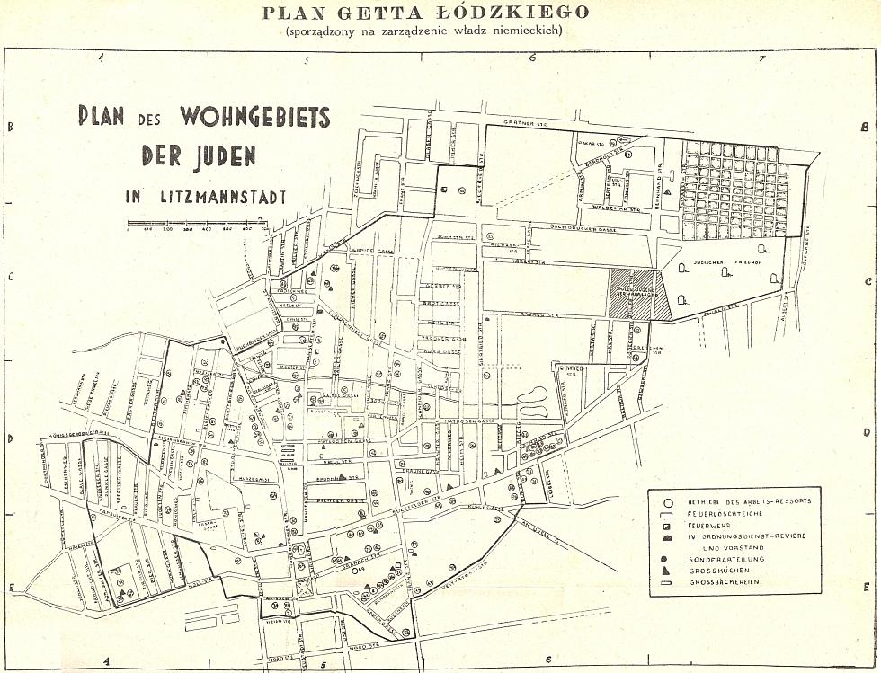 Plán ghetta v Lodži, kde v roce 1942 skonal