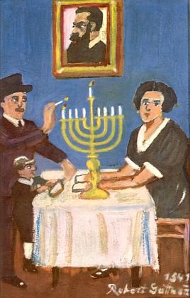 """Jeho obraz z roku 1941 nese název """"Chanuka"""" a ten muž na portrétu visícím nad devítiramenným svícnem je Theodor Herzl, nejvýznamnější představitel sionismu a """"duchovní otec"""" státu Izrael"""