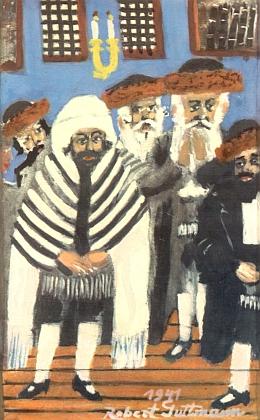 Obraz Karpatoruští Židé v synagoze zroku 1941