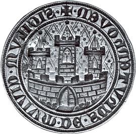 """Veliká pečeť města Sušice z poloviny 14.století s nápisem """"Sigilum civium de Schutenhoven"""""""