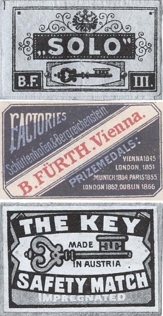"""Ještě roku 1880, kdy se v Sušici narodil, byly sirky firmy """"Solo"""" Bernarda Fürtha (1796-1849) označeny dvojhlavým orlem a později i nápisem """"Made in Austria"""""""