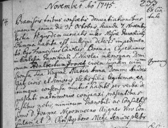 Dvojí psaní jeho příjmení je dobře patrné na latinsky psaném záznamu českobudějovické oddací matriky o zdejší svatbě jeho rodičů v listopadu roku 1744 (in margine i v indexu jen Gyrowetz)
