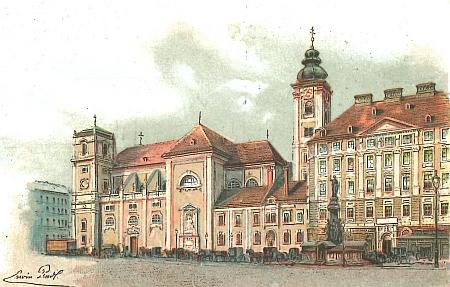 Vídeňský Skotský kostel (Schottenkirche), kde proběhl pohřební obřad, na výřezu ze staré pohlednice