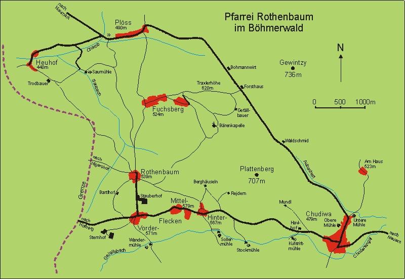Mapka farnosti Červené Dřevo na Šumavě (viz i Leopold Klima, Maria Schmidt-Klimaová a Martin Zipperer