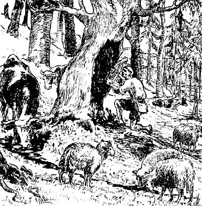 Pověst o založení kostela v Červeném Dřevě na kresbě Josefa Maiera