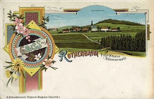 Červené Dřevo na staré pohlednici rakouské firmy Schwidernoch ve Wagramu