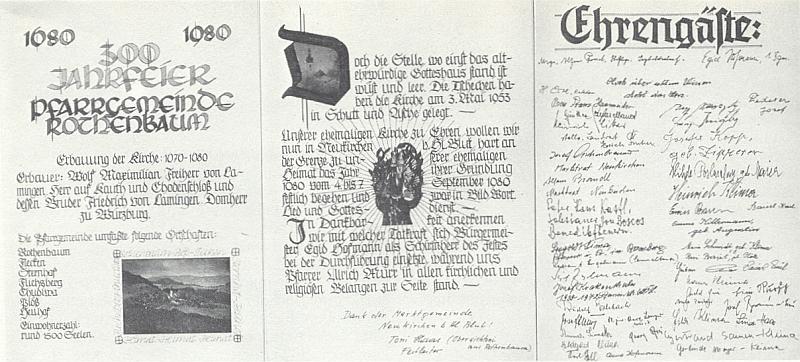 Tady podepsal záznam ke 300. výročí rodné farnosti do Zlaté knihy obce Neukirchen beim Heiligen Blut (viz i Sepp Skalitzky)