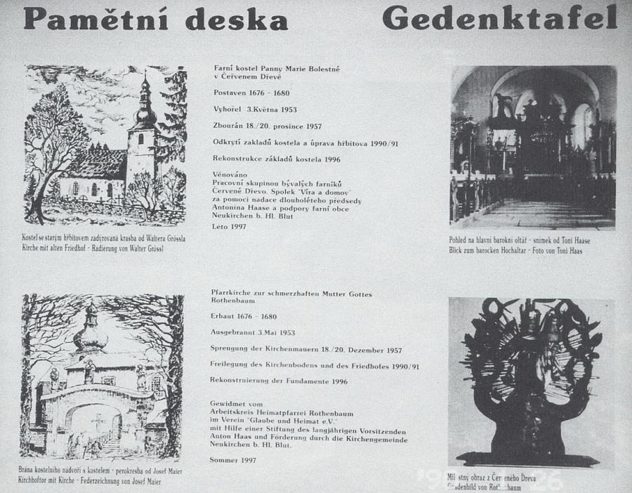 Pamětní deska farního kostela Panny Marie Bolestné v Červeném Dřevě