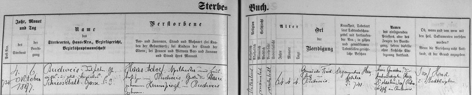 Záznam o jeho skonu v českobudějovické knize zemřelých