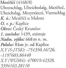 """Meziříčí v """"encyklopedii"""" Novohradských hor"""