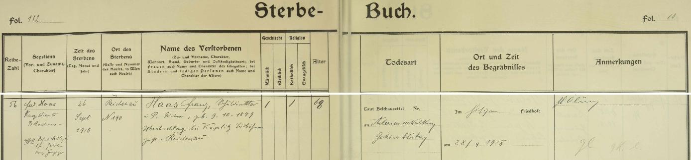 Záznam o jeho úmrtí v knize zemřelých farní obce Reichenau an der Rax