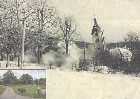 Kostel sv. Prokopa v Prášilech, odstřelený 4. ledna 1979 a dnešní stav místa, kde stával...