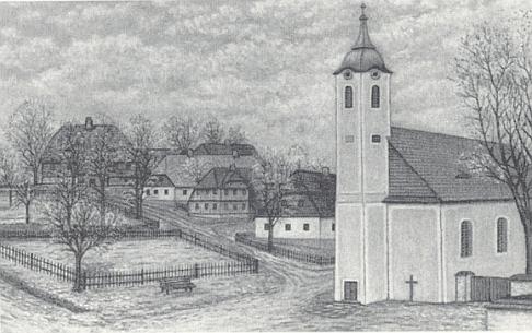 """... Franz Haas ten kostel zachytil jako dlouholetý někdejší ministrant vněm na své malbě štětcem (""""mit dem Pinsel"""")"""