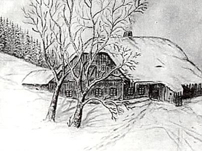 """Tak řečený """"Gruberhäusl"""" v Dolních Ždánidlech, kde se narodila prožil část dětství, na jeho vlastní kresbě"""