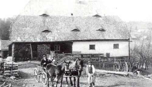 Koňský povoz před stavením čp. 12 v Kriegrových Dvorech (Kriegerhöf), které patřilo rodině Haasově