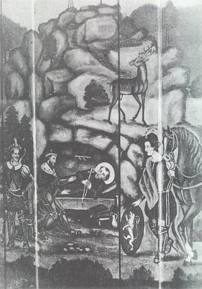 Kníže Břetislav u úmrtního lože sv. Vintíře na nástěnné malbě z Balthashofu ve Stodůlkách na znímku Zephyrina Zettla z doby kolem roku 1900 (viz i Marie Franková a Zephyrin Zettl)
