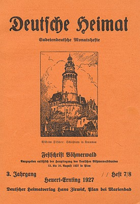 Obálka (1927) slavnostního šumavského čísla měsíčníku Deutsche Heimat, kde vyšel obsáhlý medailon k jeho padesátinám