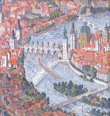 Šumavské vory pod Karlovým mostem na gobelínu Cyrila Boudy Praga regni musicae z roku 1953     (zdobícím mimochodem prostory velvyslanectví České republiky v Moskvě)