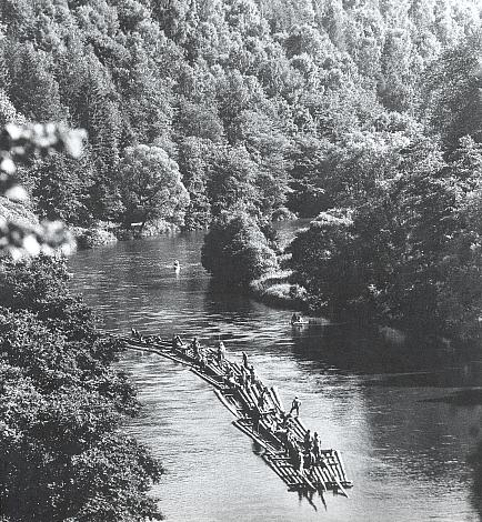 Poslední ukázková plavba šumavských vorů po Vltavě dne 9. července 1971 z Vyššího Brodu do Březí při Boršově nad Vltavou, jak ji zachytil Josef Erhart na snímku z úseku řeky nad Rájovem s poznámkou, že doprava dřeva ze šumavských lesů takto trvala od středověku až do konce druhé světové války