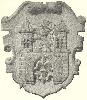 Městský znak rodného Stříbra z roku 1543 naportále tamní radnice