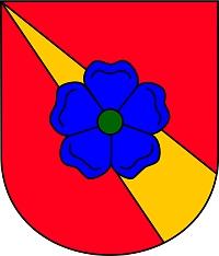 Znak jeho Červené Vody nese ve svém středu modrou pětilistou růži