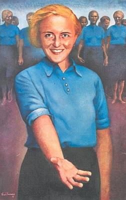 """Propagační pohlednice Německé sociální demokracie v ČSR s textem """"Dej se knám!"""", jejímž autorem byl Ernst Neuschul (1895-1968), židovský malíř, za války apo válce žijící se změněným příjmením Norland ve Velké Británii"""