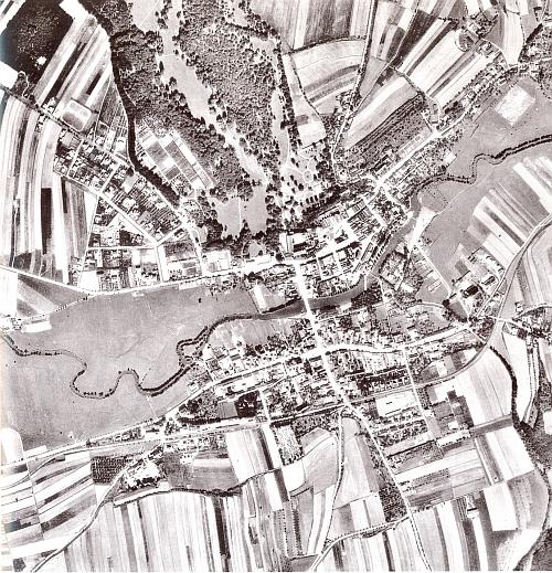Horšovský Týn na leteckém snímku z roku 1938