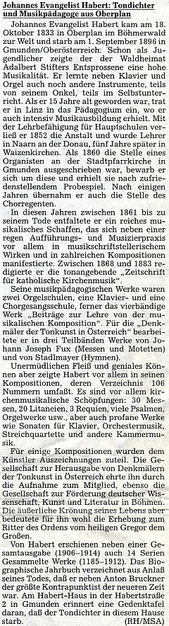 """Životopis v ústředním krajanském listě ke 160. výročí Habertova narození """"vlesním domově Adalberta Stiftera"""""""