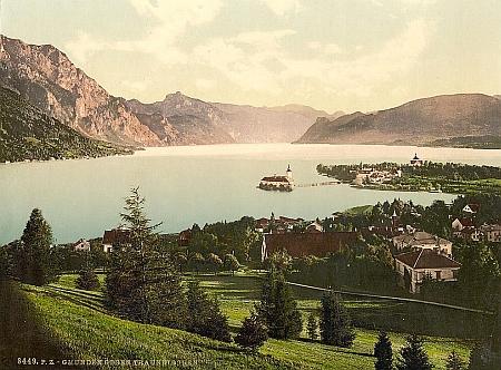 Gmunden na kolorované pohlednici z konce 19. století...