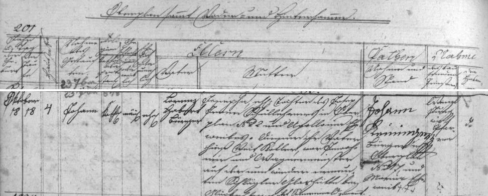 Záznam o jeho narození v hornoplánské křestní matrice