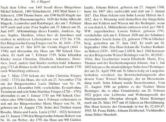 Přehled majitelů hornoplánskéhodomu čp.4, kde se narodil