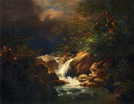 Horská bystřina (Motiv ze Šumavy) na obraze Bedřicha Havránka (1821-1899) ze sbírek Národní galerie v Praze