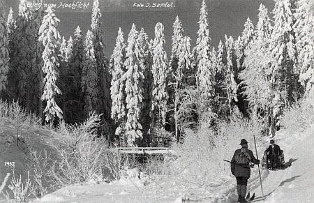 Cesta ke Smrčině na pohlednici firmy Josef Seidel