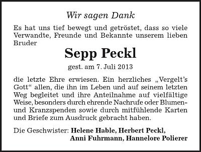 Poděkování sourozenců Pecklových za projevy účasti po skonu bratra Seppa