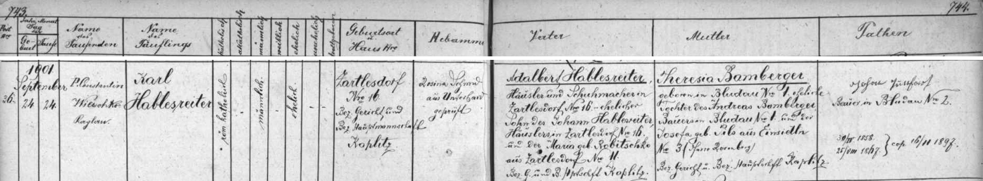 Záznam o jeho narození v křestní matrice farní obce Dolní Dvořiště