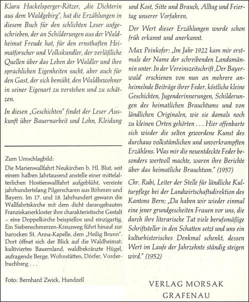"""Obálka (1986) a záložky druhého vydání knihy jejích """"povídek a vyprávění"""" vydaného nakladatelstvím Morsak v Grafenau"""
