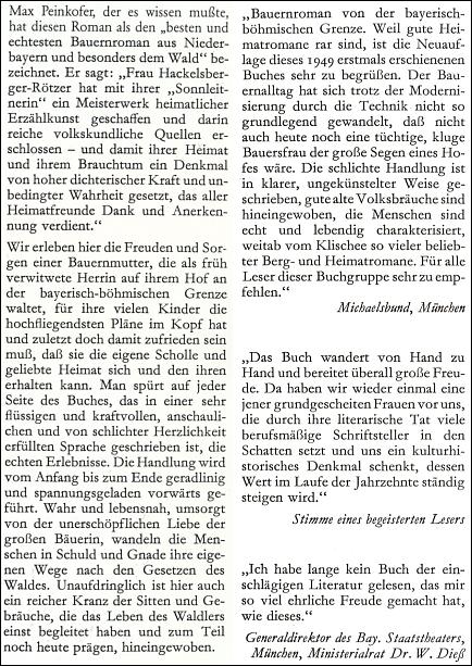 """Obálka (1988) a záložky čtvrtého vydání jejího románu, který Max Peinkofer označil za """"nejlepší selský román zDolních Bavor a zejména Bavorského lesa"""" (Morsak Verlag, Grafenau)"""