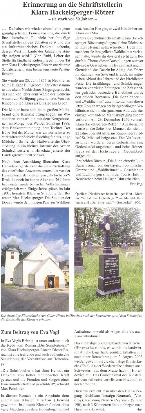 """Vzpomínka na ni k 50. výročí jejího úmrtí na stránkách časopisu Der Bayerwald s připomínkou, že román DieSonnleitnerin se zčásti odehrává vklášteře Školských sester de Notre Dame v Hyršově, kde kdysi nacházelo své povolání mnoho děvčat z """"koutu při Vysokém Bogenu"""" (Hohenbogenwinkel), ať už jako civilní zaměstnankyně či řádové sestry"""