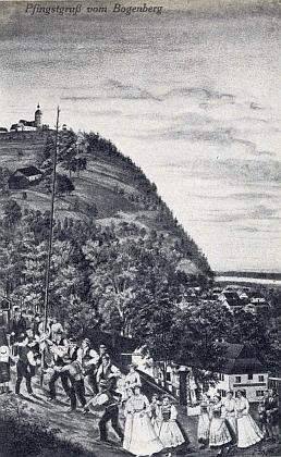 Stará pohlednice se svatodušním pozdravem zBogenbergu