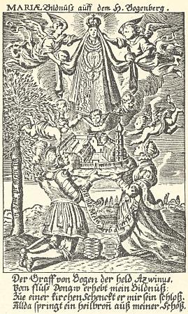 Slavnou pouť na Bogenberg připomíná tato mědirytina zpoutní knihy datované rokem 1679