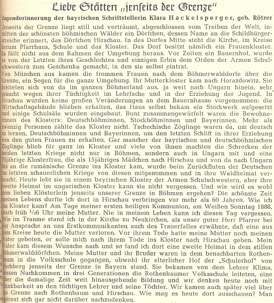 Její text o klášteře v Hyršově na stránkách krajanského časopisu