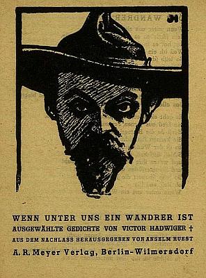 Hadwigerův portrét na výboru z jeho pozůstalosti, vyšlém roku 1912, tedy rok po jeho smrti v 33 letech věku - signatura JH nakresbě jsou iniciály jména John Höxter