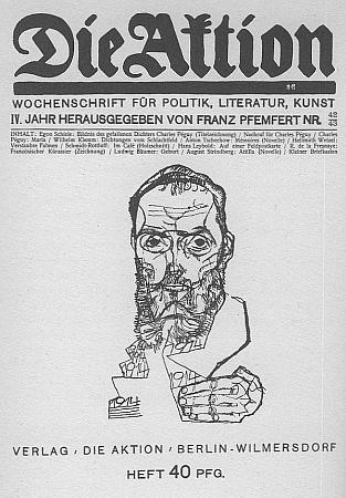 Obálka čísla časopisu Die Aktion z října 1914 s portrétem Charlese Péguyho od Egona Schieleho - to už byl ovšem Hadwiger tři roky mrtev